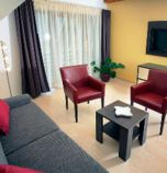 Wellness hotel*** Bešeňová 2619 - apartment Comfort: 1 x double-bed (1 x  double bed), with a balcony, hair dryer, bathrobe,  + 2 x additional bed (1 x fold-out couch, common room ), common room (pay TV, radio, telephone, seating, safe, Internet for free, minibar), kitchen corner (fridge, electric kettle, cooker with two burners), bathroom (shower cabin, WC in the bathroom, wash-basin)