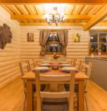 Cottage Liptovský Trnovec 3442 - wooden cottage Delux: 2 x double-bed (2 x  single bed), 1 x double-bed + 2 x additional bed (1 x  double bed, 2 x fold-out couch), common room (TV, seating, fire-place, safe) combined with the dining room, kitchen (fridge, electric kettle, electric oven for baking, microwave oven, 2 x dish washer), 2 x bathroom (shower cabin, WC in the bathroom, wash-basin), entrance to the terrace, podlahové kúrenie, separate entrance