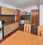 Apartment house  Tatranská Lomnica 3609 - studio Typ A  (28 m²): 1 x double-bed (1 x  double bed),  + 1 x additional bed (1 x fold-out couch), common room (TV+SAT, radio, seating) combined with the kitchen corner, kitchen corner (fridge, electric kettle, cooker with two burners), bathroom (shower cabin, WC in the bathroom, wash-basin)